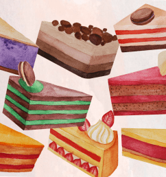 cake slices watercolor clip art example image 1 [ 1200 x 800 Pixel ]