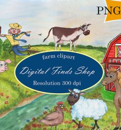 farm clipart farm animals in png svg formats watercolor example image 1 [ 1200 x 800 Pixel ]