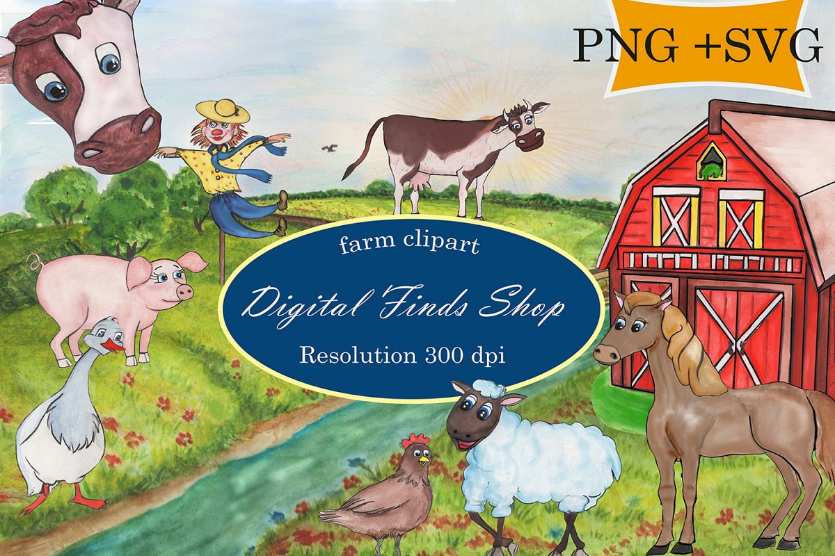 hight resolution of farm clipart farm animals in png svg formats watercolor example image 1
