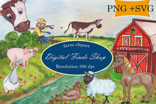 small resolution of farm clipart farm animals in png svg formats watercolor example image 1