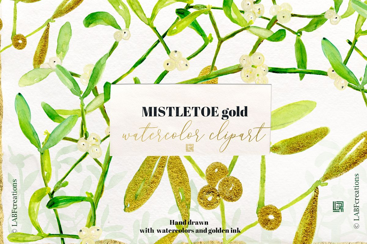 Mistletoe GOLD. Watercolor Hand Drawn Clipart Set With Real