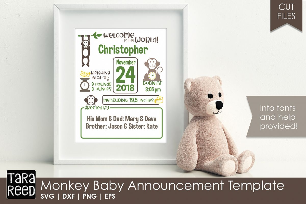 Monkey Baby Announcement Template Example Image