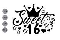sweet 16 svg, birthday svg, sixteenth birthday svg.