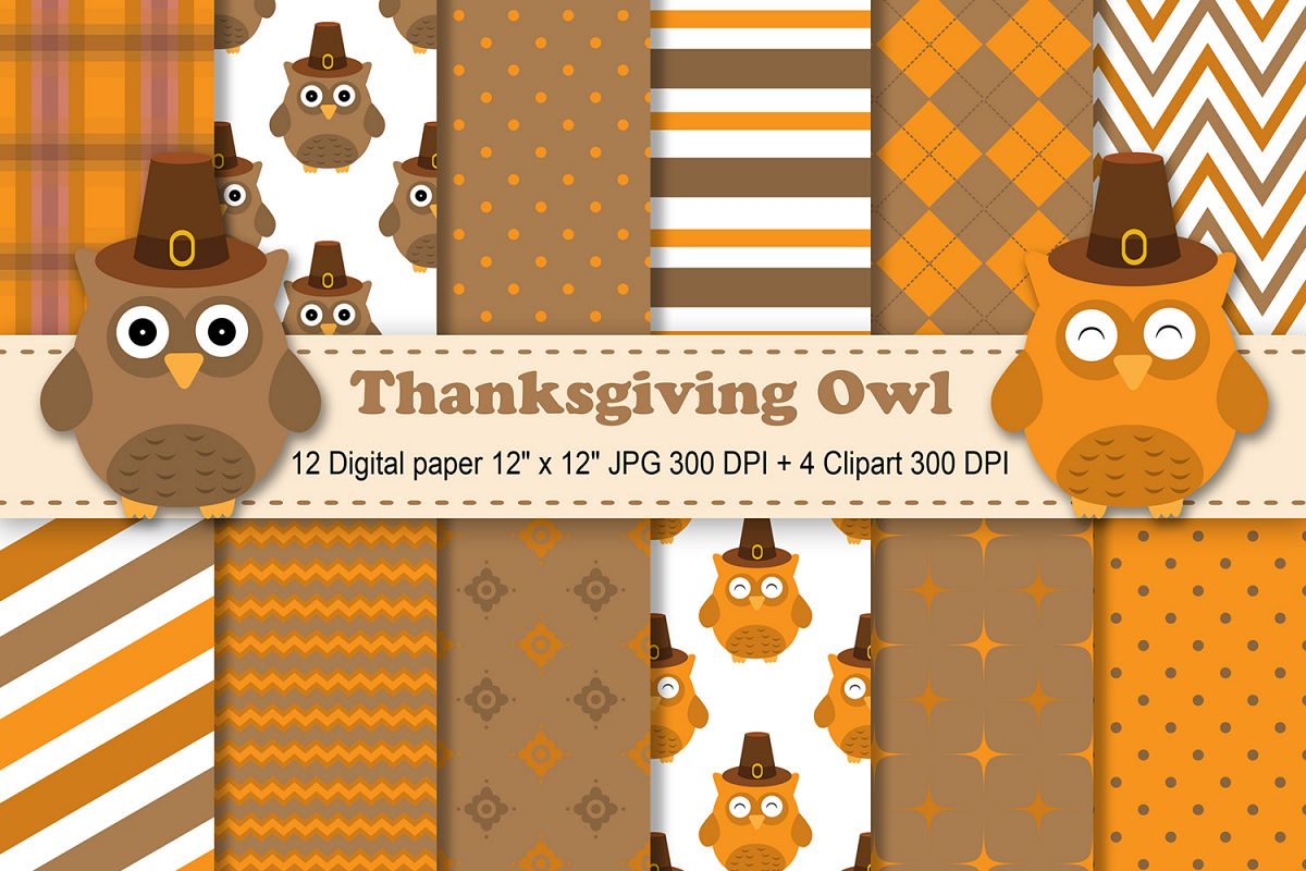 hight resolution of thanksgiving digital paper thanksgiving owls background fall pattern autumn printables scrapbook papers