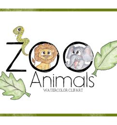 zoo clipart watercolor clipart animal clipart cute cartoon zoo animals  [ 1158 x 772 Pixel ]