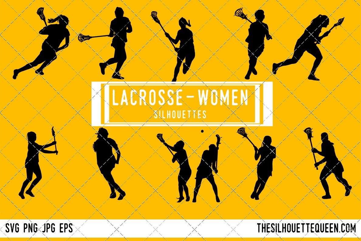 hight resolution of woman lacrosse silhouette female player svg png eps ai example image 1