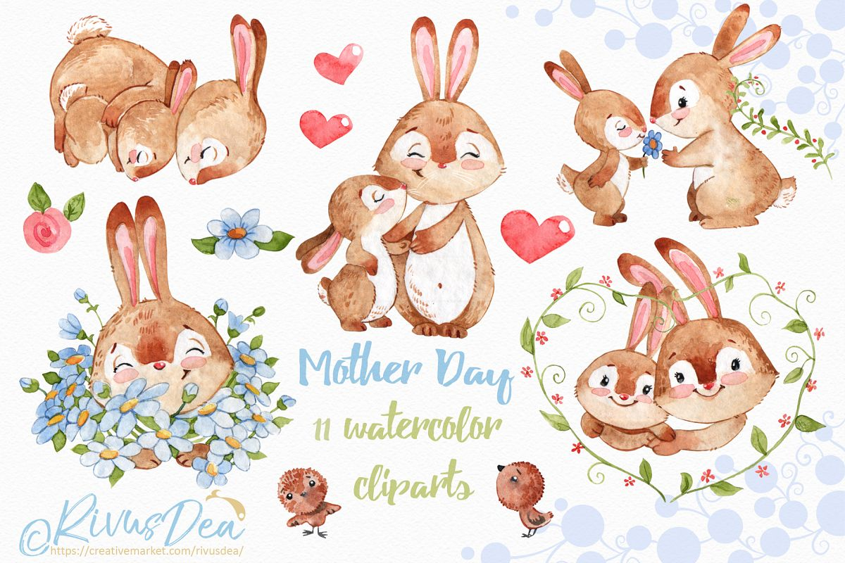 Bunny And Mom Watercolor Clipart Set