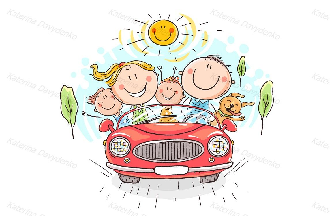 happy family travelling by
