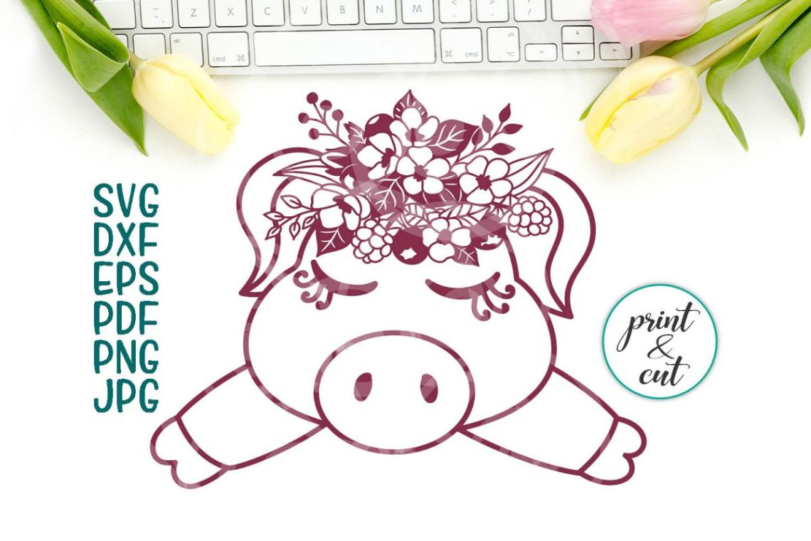 Download pig face svg file, baby pig with flowers iron on cut sample