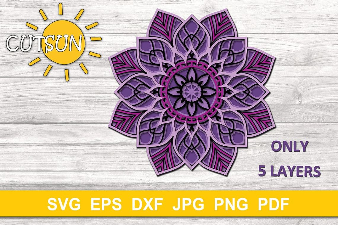 Download Mandala SVG   3D Layered Mandala SVG cut file 5 layers ...