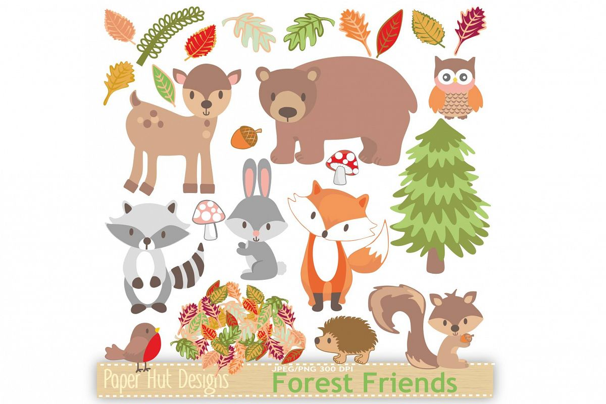 hight resolution of woodland animals clipart example image 1