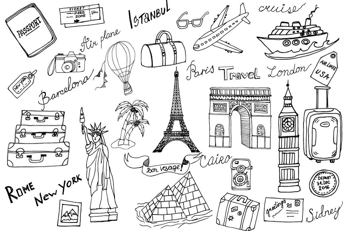 Doodle Travel Clipart