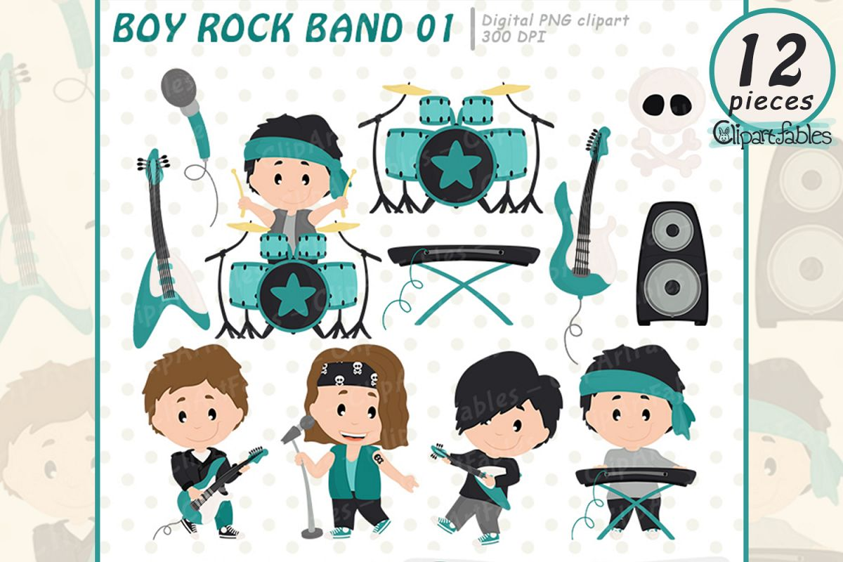 hight resolution of boy rock star clipart music clip art instant download example image 1