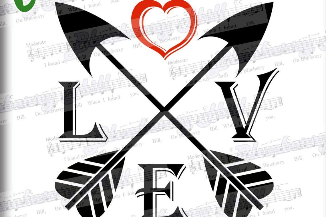 Download Love Arrows SVG -Arrow heart svg - Valentine Svg - love sign