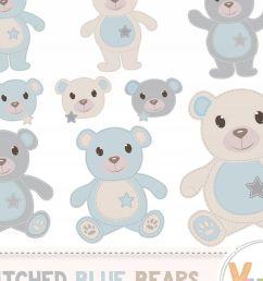 teddy bear clip art stitched bear clipart digital clip art blue teddy bears [ 1200 x 800 Pixel ]