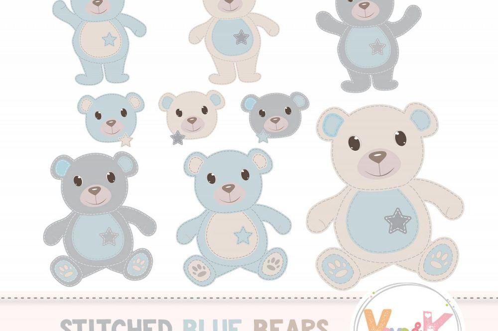 medium resolution of teddy bear clip art stitched bear clipart digital clip art blue teddy bears