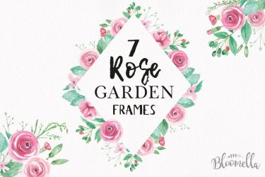 watercolor pink flower rose border garden flowers frames clipart frame florals watercolour graphic bloomella borders roses painting designer follow graphics