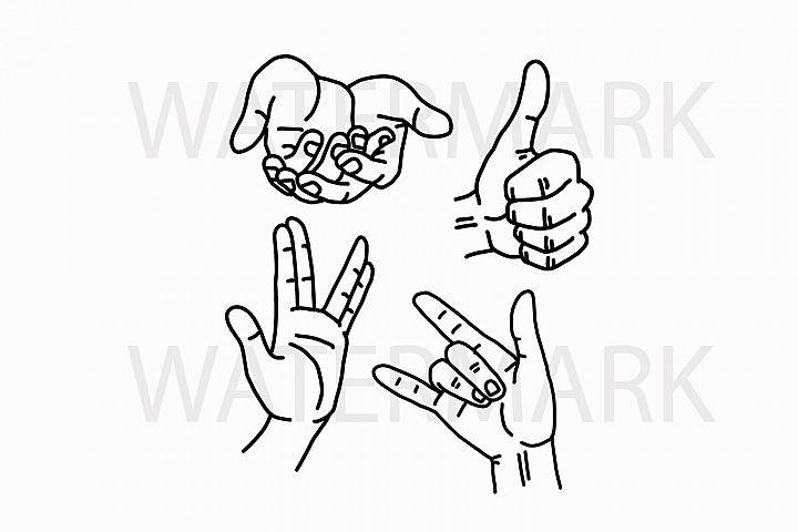 Download Bundle Hands Thumb Up - I love you - hand sign - SVG/JPG ...