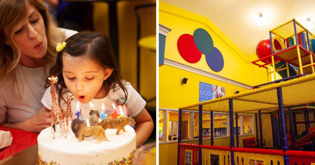 Girl blowing out candles and play area
