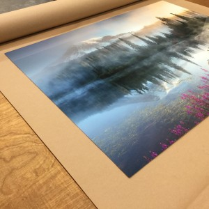 A metal print of Art Wolfe's photograph, prepared for the JVH Print Conference