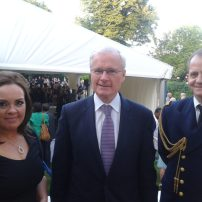 Left to right: Fionnuala Connolly, Director of the Society, Belfast N.I.; H. E. The Ambassdor of France to U.K. , M Bernard EMIĖ; Defence Attaché Rear-Admiral Henri SCHRICKE; French Embassy