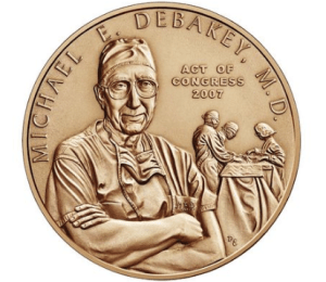 Congressional Gold Medal presented to Dr. DeBakey at a ceremony at the U.S. Capitol Building on April 23, 2008.