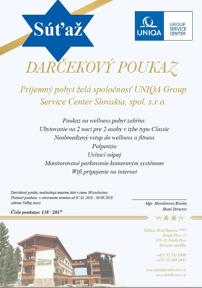 Súťaž o wellness pobyt pre 2 osoby vo Wellness Hoteli Borovica vo Vysokých  Tatrách!  d3b17217fa5