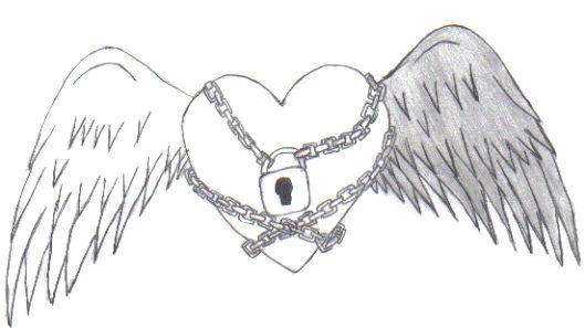 Key To My Heart With Chain Drawing Sketch Coloring Page