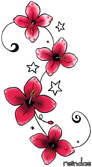 design red flower tattoo by reindas on deviantart cool place for hand tattoo