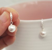 White Pearl Earring, Swarovski Pearl , Bridesmaid Gifts ...