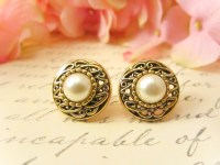 Antique Gold Pearl Earrings, Vintage Button Earrings ...