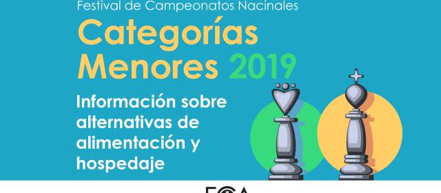 Hospedaje y alimentación Festival de Campeonatos Nacionales de Categorías Menores 2019