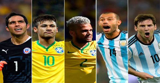 Five FC Barcelona players in 2015 Copa América