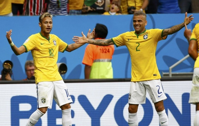 Neymar and Alves were in the samba line up