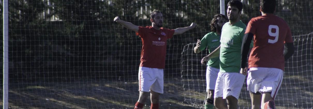 FCB midfielder Calum Cant celebrates his second goal against Bar Galicia Villaverde