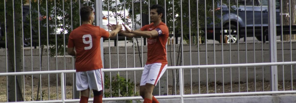 FC Britanico's Ishmael Majid and Lewis Jones celebrate against Amiviajes in the Liga Bunwer Apertura opener