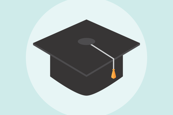 An cartoon of a black graduation cap with a single gold and white tassel. The cap sits in a pale blue circle surrounded by a pale blue-green background. Image by Memed_Nurrohmad from Pixabay.