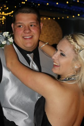 Senors Justin Kohler and Sequoia Bryant slow dance at prom. Photo by Alaina King.