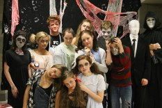 """From left to right at the top: junior Gage Griffin as Psycho, sophomore Josey Waterboy as Psycho, freshman Noah Hankins as Psycho, sophomore Jordan Burger as Slenderman, and English teacher Tim Romig. From left to right in the middle: junior Morgan Prentiss as a skeleton, freshman Stevie Griffin as a """"creepy girl,"""" sophomore Allie Lincoln as an old lady, sophomore Anna Thomson as a doll, and sophomore Evan Stanfield as Psycho. From left to right at the bottom: junior Aubrey Spencer as Psycho, junior Brooklyn Ivey as a doll, and freshman Elizabeth Hallal as a """"demon girl."""""""