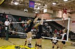 Junior Mia Swearingen and senior Ashley Grider attempt to block a ball hit by a New Albany Senior Maddy Weber.