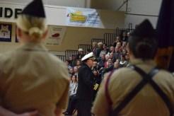 Navy JROTC Area 3 Commander Joe Hankins (USN, Ret.) presents a speech regarding his pride for the FC NJROTC program and all other ROTC programs. Photo by Kiley Swain.
