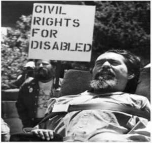 Ed Roberts at a Civil Rights gathering