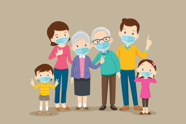 graphic - family wearing masks