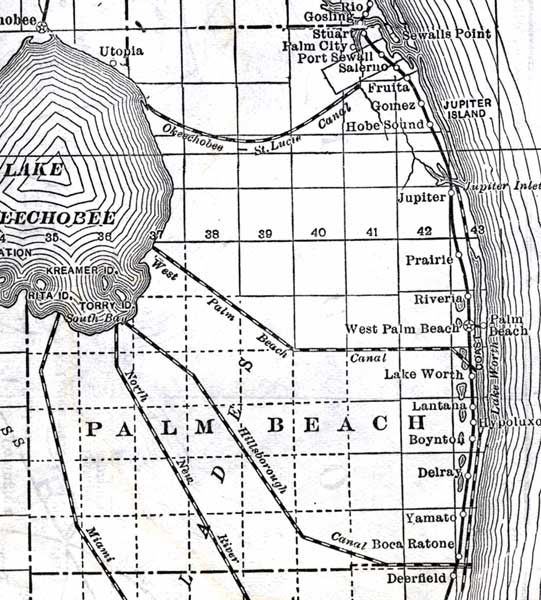 Map of Palm Beach County, Florida, 1920