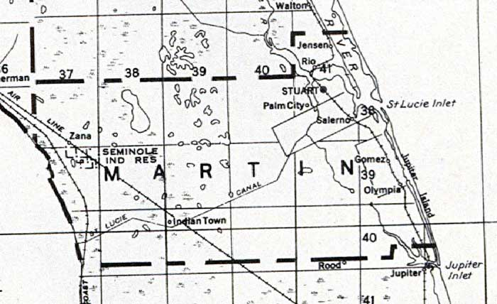 Map of Martin County, Florida, 1932