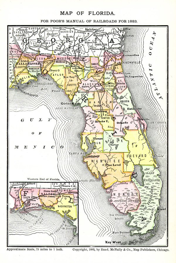 Map of Florida for Poor39s Manual of Railroads 1883