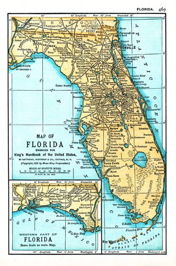 Map of Florida engraved for King39s handbook of the United