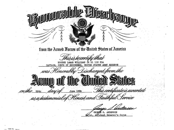 Honorable Discharge certificate for Eugene Williams
