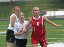 HALEY AND KATIE TURNER FIGHT for position during Monday's win over Goochland. (Photo: News-Press)