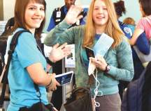  KATE POTRYKUS AND JACKIE PACELLA, rising seniors at GMHS, prepare to leave for China. Ten students and eleven chaperones departed on June 24 and will return July 2, during which they will visit Beijing, Xian and Shanghai. GMHS Chinese teacher Tina Kao is hopeful this trip will create an exchange program for Chinese students. (Photo: Courtesy Shelbi Taylor).